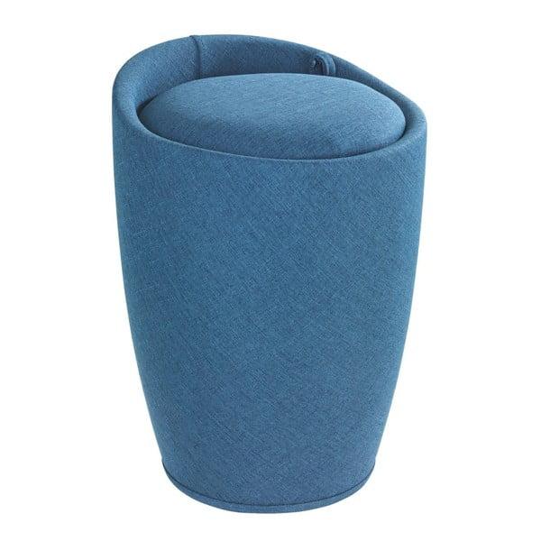 Coș de rufe și taburet, 2 în 1, Wenko Linen Look, albastru