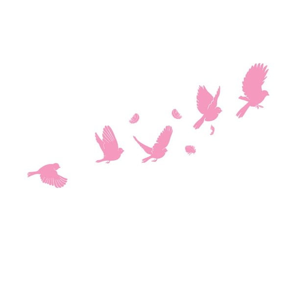 Samolepka na zeď Large pink flight, 50x105 cm