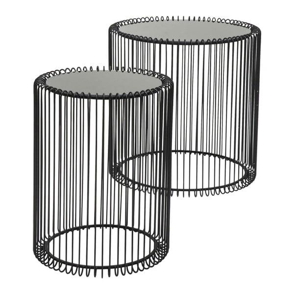 Wire High 2 db-os fekete tárolóasztal szett - Kare Design
