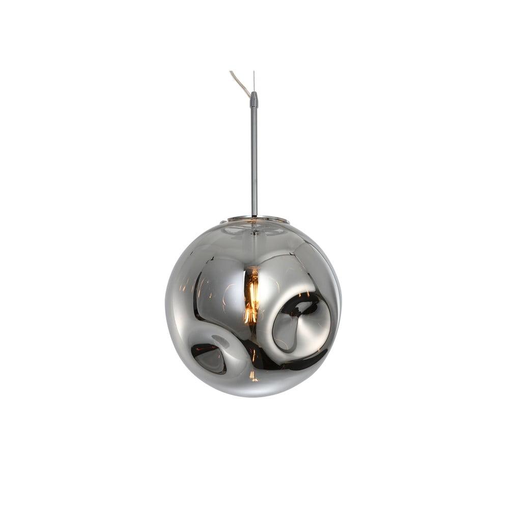 Závěsné svítidlo z foukaného skla v chromově šedé barvě Leitmotiv Pendulum