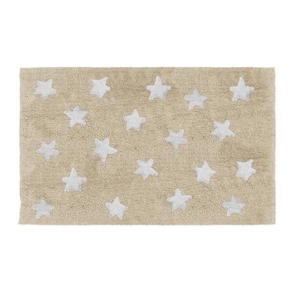Béžový dětský ručně vyrobený koberec Tanuki Stars, 120x160cm