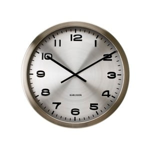 Ceas de perete Present Time Maxie, argintiu