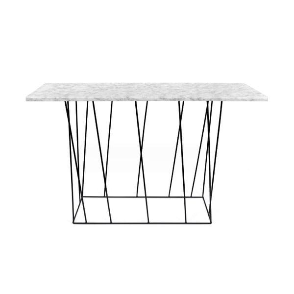 Bílý mramorový konzolový stolek s černými nohami TemaHome Helix