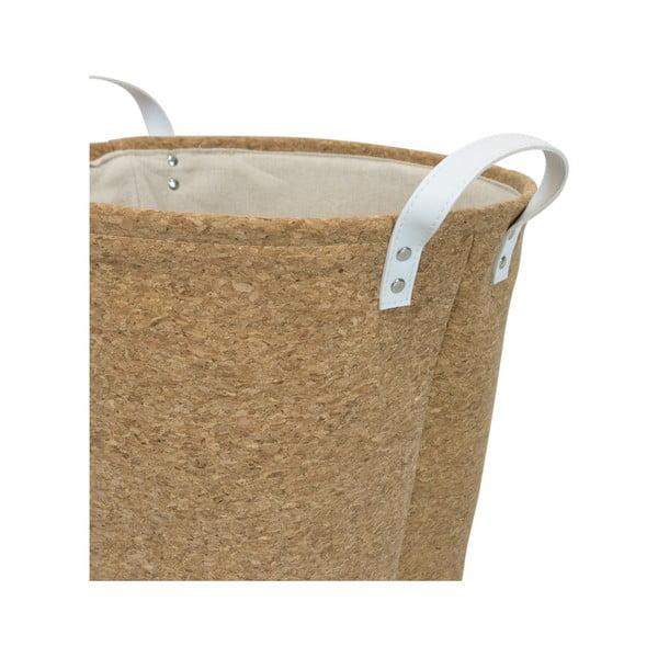 Coș din țesătură de plută pentru rufe Furniteam Home, ⌀ 37 cm, alb - maro