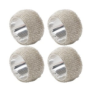 Sada 4 stříbrných kroužků na ubrousky Creative Tops Christmas