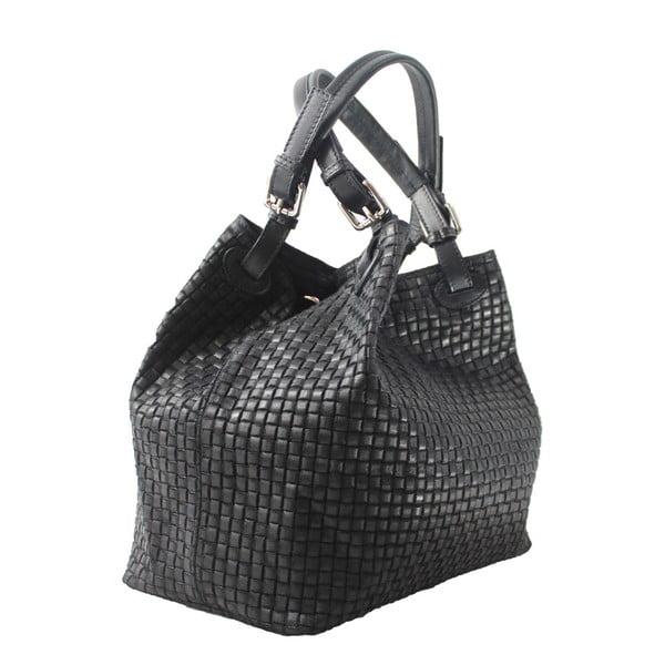 Černá kožená kabelka Chicca Borse Tessa
