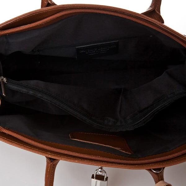 Koňakově hnědá kožená kabelka Giorgio Costa Perugia