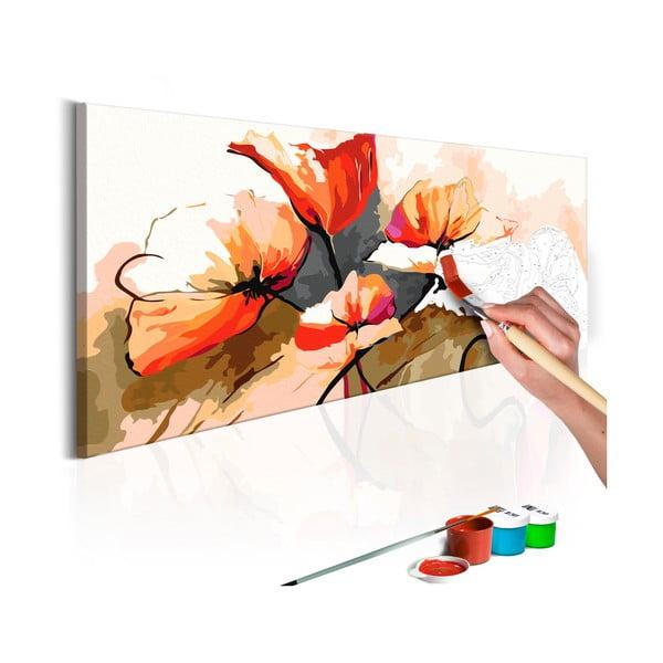 DIY set na tvorbu vlastného obrazu na plátne Artgeist Poppies, 100 × 40 cm