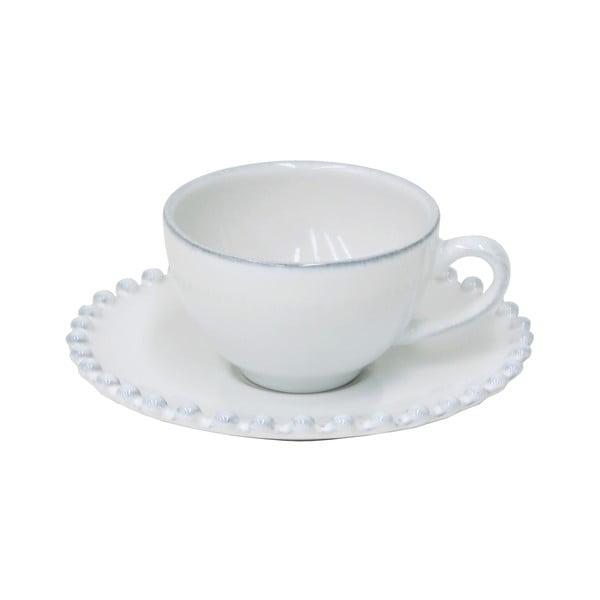 Biely kameninový hrnček s tanierikom Costa Nova Pearl, objem 70 ml