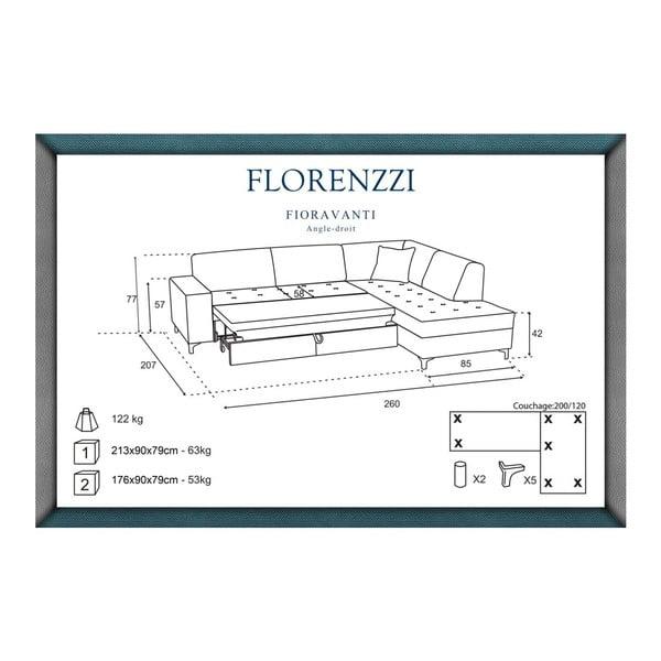 Béžová rozkládací pohovka Florenzzi Fioravanti s lenoškou na pravé straně
