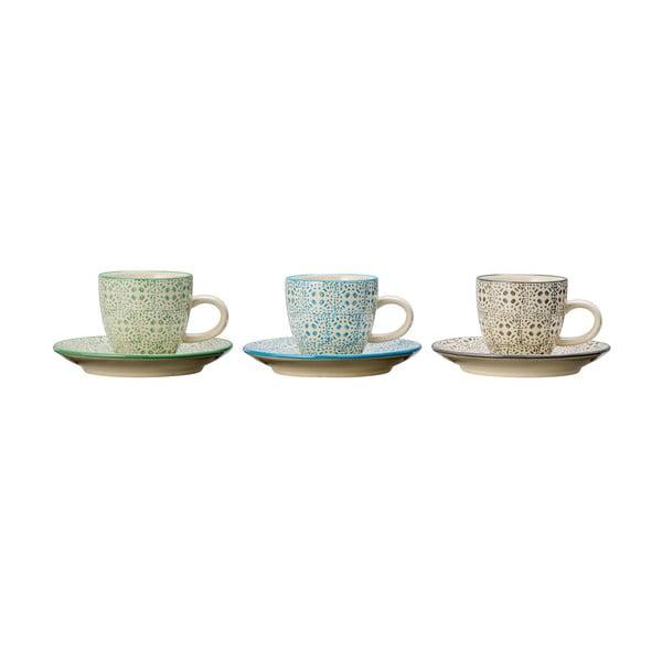 Zestaw 3 ceramicznych filiżanek do espresso Bloomingville Isabella