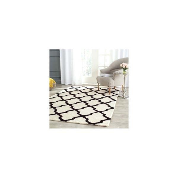 Vlněný koberec Ava 152x243 cm, bílý/černý