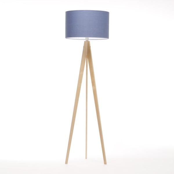 Stojací lampa Artist Dark Blue Linnen/Birch Natural, 125x42 cm