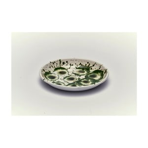 Zelenobílý smaltovaný talíř Kapka Floral Madness, Ø19cm