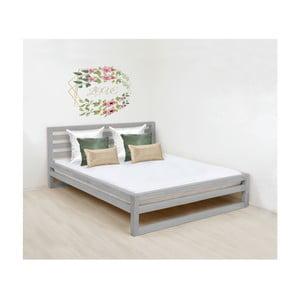 Šedá dřevěná dvoulůžková postel Benlemi DeLuxe, 200x190cm