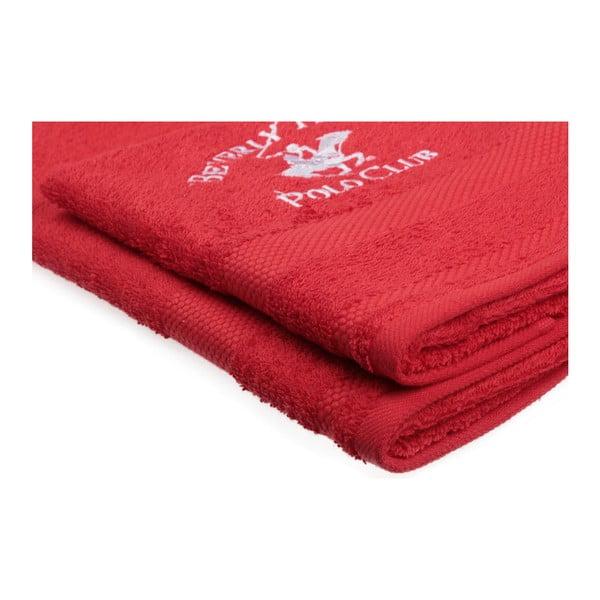 Sada 2 červených ručníků Beverly Hills Polo Club Tommy Orj