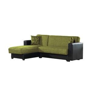 Canapea colț extensibilă cu spaţiu de depozitare, Esidra Chaise Longue, verde - negru