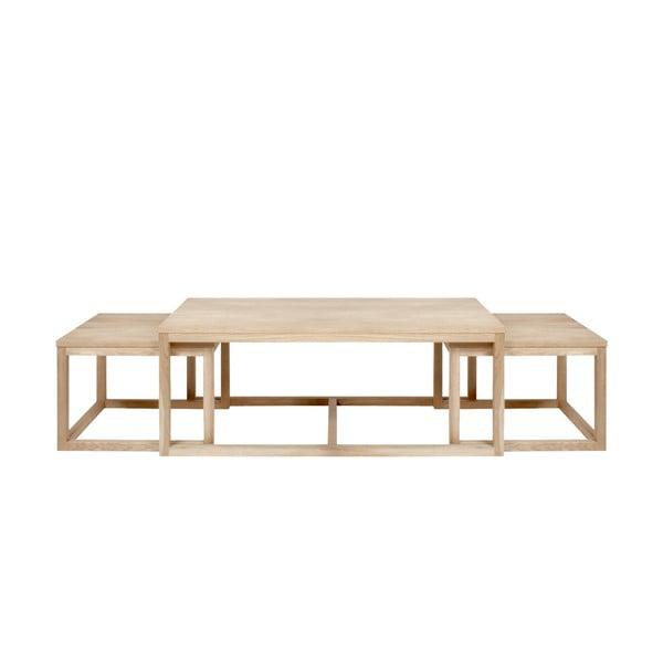 Sada 3 hnedých konferenčný stolíkov s podnožím z dubového dreva Actona Cornus