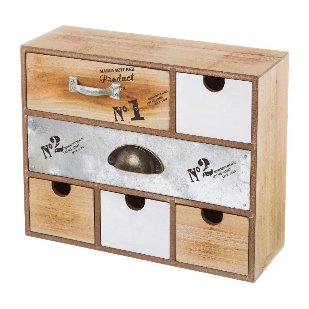 Dřevěná skříňka s 6 šuplíky Unimasa, 34 x 27,5 cm
