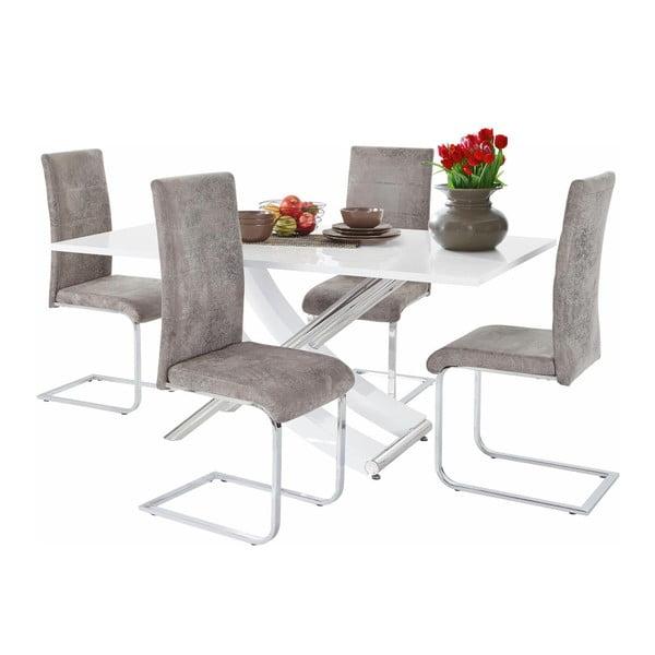 Sada stolu a 4 šedých židlí Støraa Carl