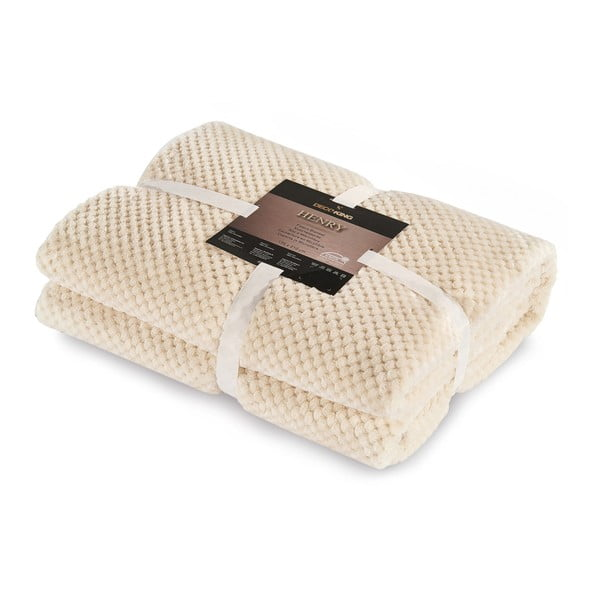 Pătură din microfibră DecoKing Henry, 70x150cm, crem