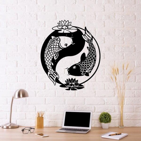 Čierna kovová nástenná dekorácia Fish Yin Yang, 70×50 cm