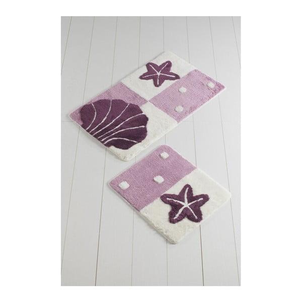 Sada 2 fialovo-bílých koupelnových předložek Deniz Yildizi