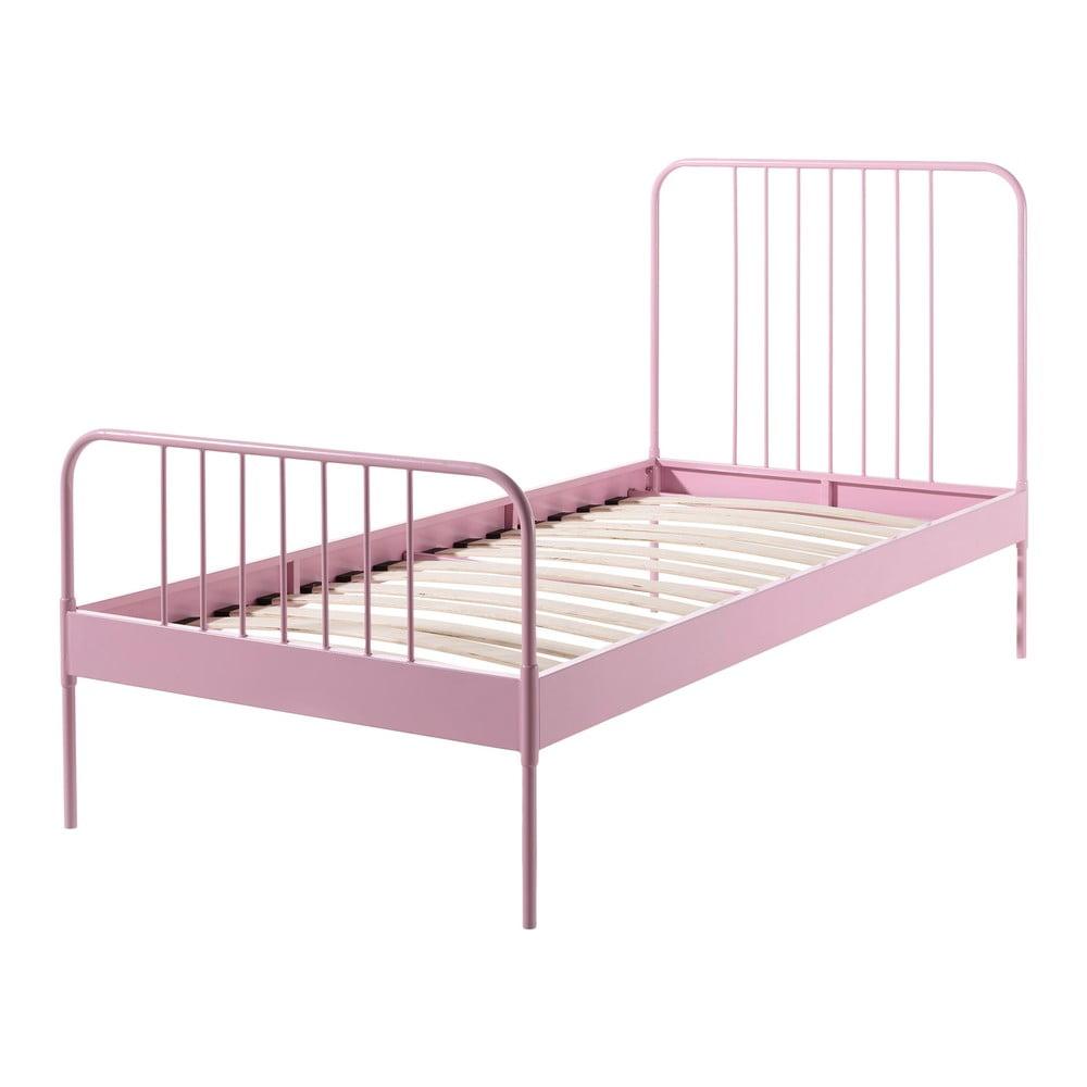 Růžová kovová dětská postel Vipack Jack, 90 x 200 cm