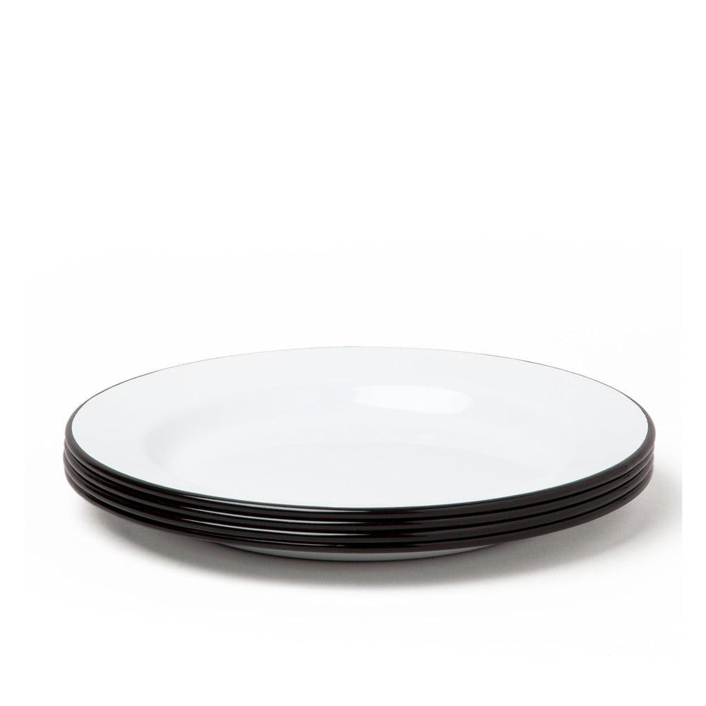 Sada 4 černobílých smaltovaných talířů Falcon Enamelware