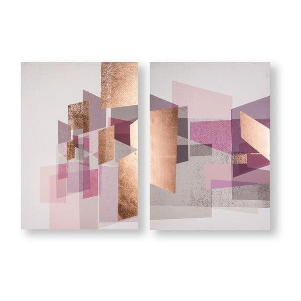 Sada 2 obrazov Graham & Brown Rose Gold Geos, 50×70 cm