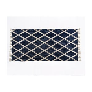 Modrý vzorovaný koberec z bavlny Cotex Valan, 120 x 180 cm