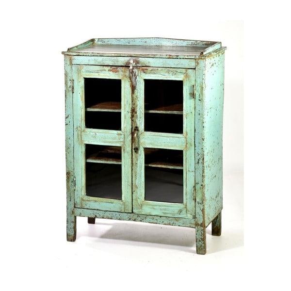 Prosklená skříňka Goa 60x80 cm, modrá patina