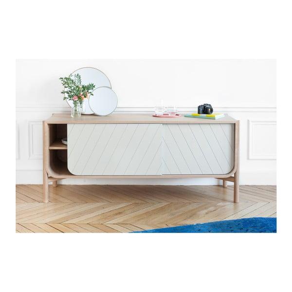 Bílá TV komoda z dubového dřeva HARTÔ Marius, šířka185cm