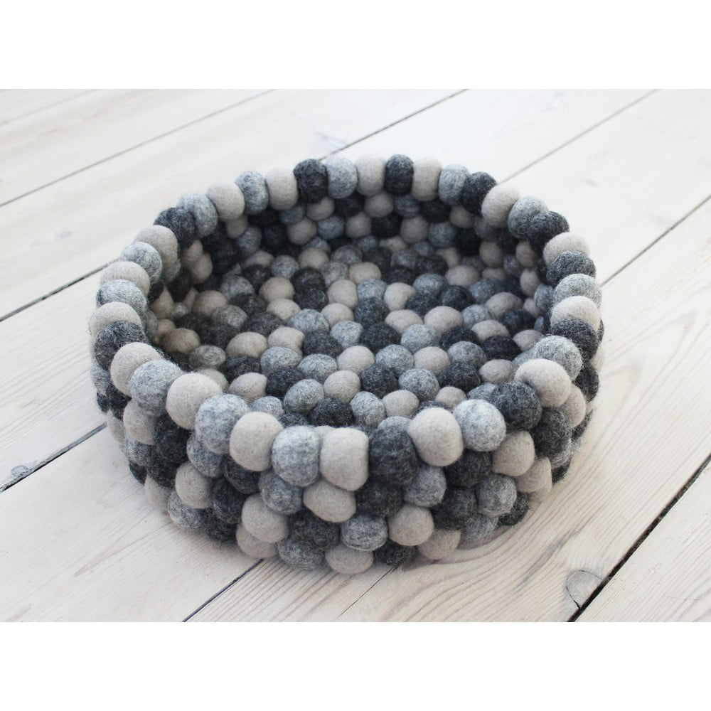 Tmavě šedý kuličkový vlněný úložný košík Wooldot Ball Basket, ⌀ 28 cm