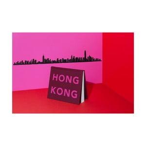 Černá nástěnná dekorace se siluetou města The Line Hong Kong XL