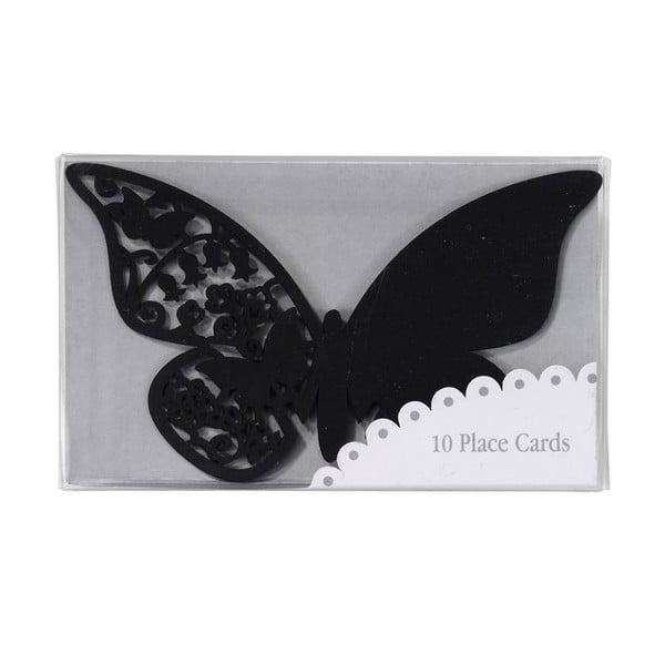Sada 10 jmenovek/rozlišovačů na skleničky Butterflies, černá