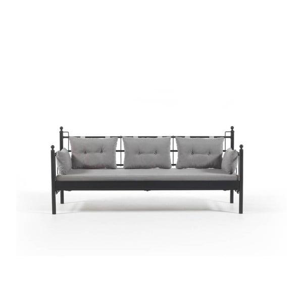 Canapea cu 3 locuri de grădină Lalas DKS, 96 x 209 cm, gri-negru