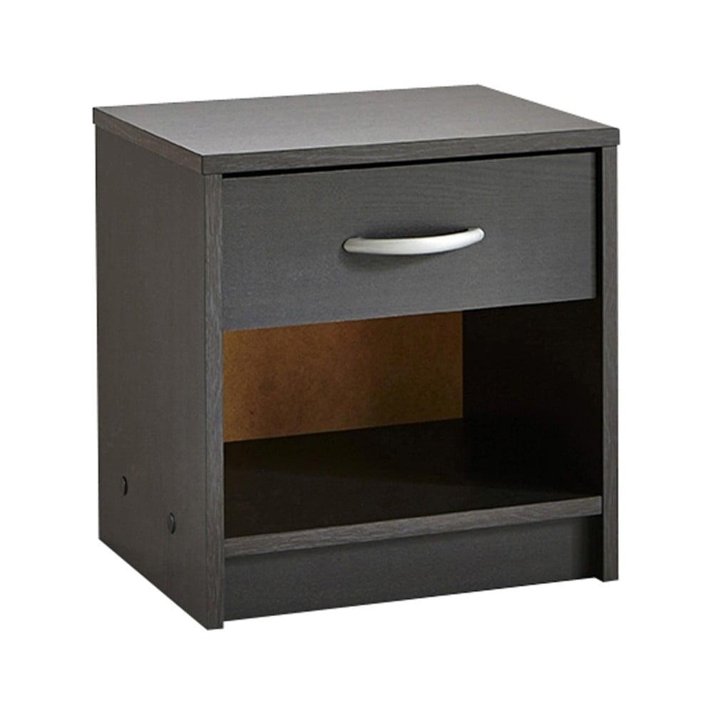 Černý noční stolek se zásuvkou Iris