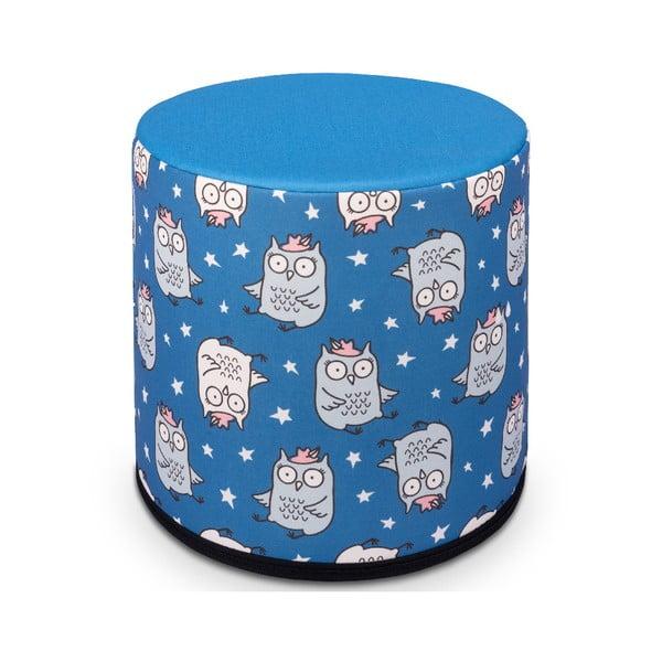 Puf pentru copii KICOTI Owl, 40 x 40 cm, albastru