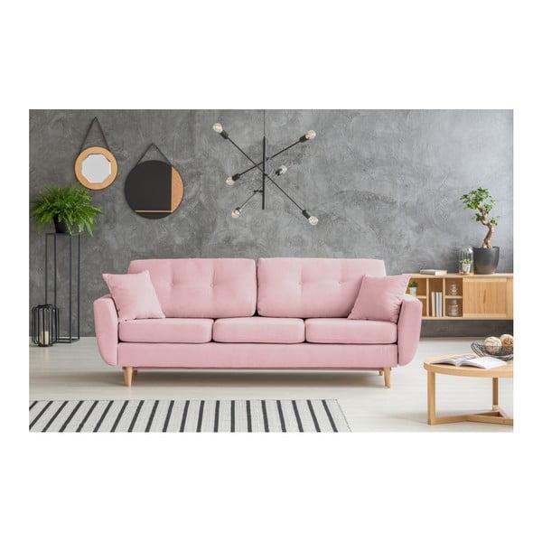 Růžová rozkládací pohovka se světlými nohami Mazzini Sofas Rose