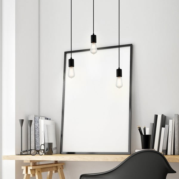 Černé závěsné svítidlo se 3 kabely Bulb Attack Cero