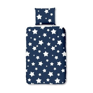 Modré dětské bavlněné povlečení Good Morning Stars,140x200cm