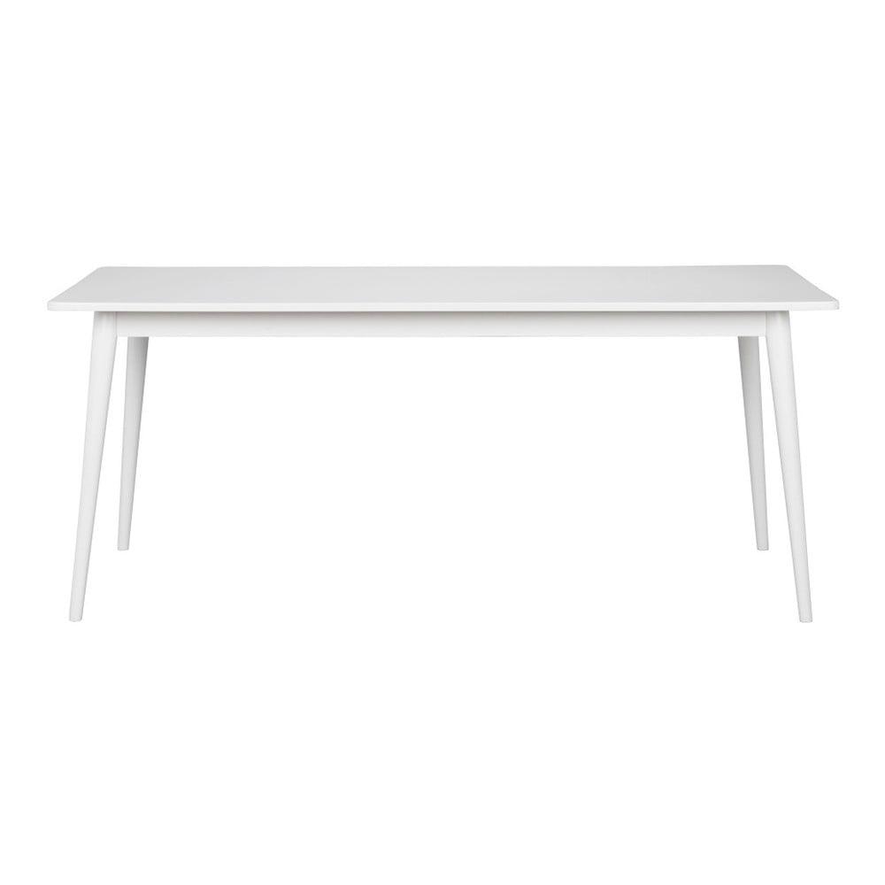 Bílý jídelní stůl s deskou v dubovém dekoru Folke Pan, 180 x 90 cm