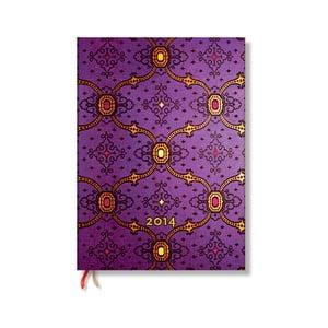 Diář na rok 2014 - French Ornate Violet, 7x9 cm