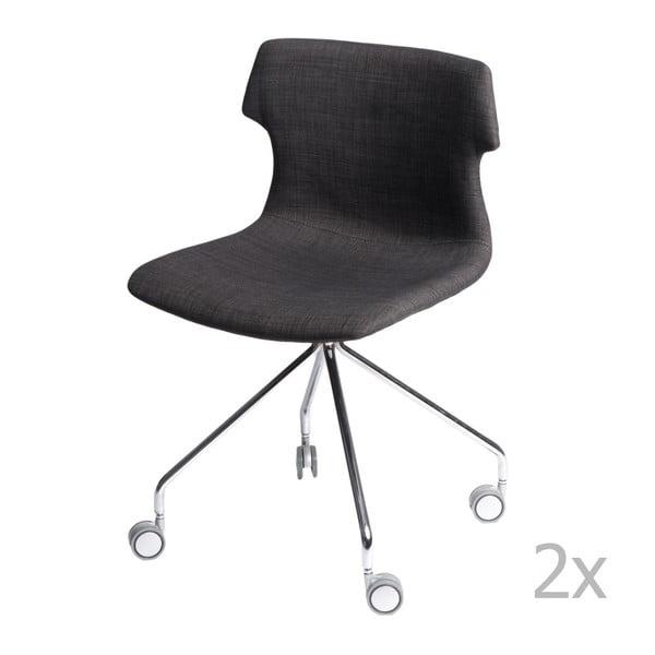 Sada 2 grafitových čalouněných židlí D2 Techno Roll