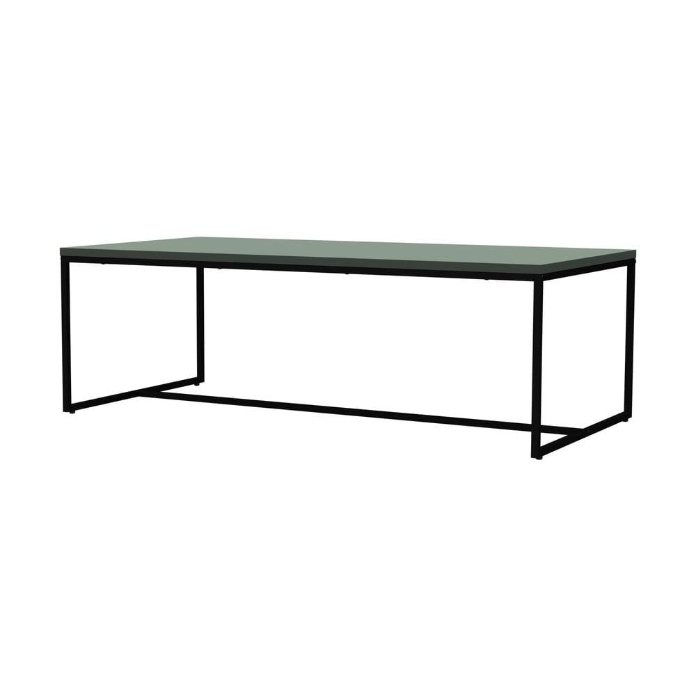 Zelený konferenční stolek s kovovými nohami v černé barvě Tenzo Lipp