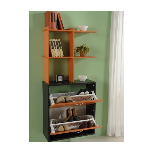 Botník na 12 párů bot s policí Shoe Rack, černá a oranžová