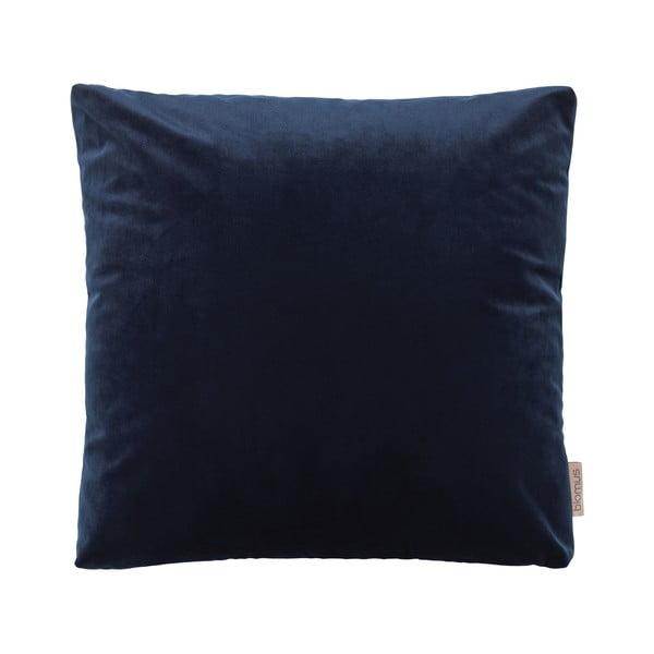 Tmavě modrý povlak na polštář se sametovým efektem Blomus, 45x45cm