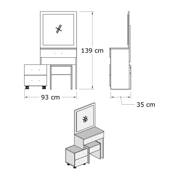 Set bílého toaletního stolku se zrcadlem a stoličkou Nice