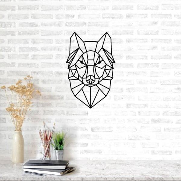 Černá kovová nástěnná dekorace Fox, 37 x 57 cm